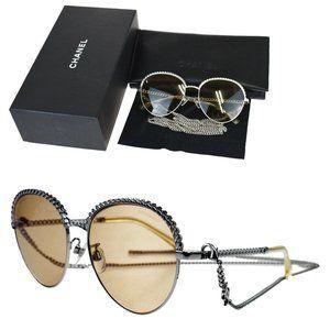 CHANEL Chain Sunglasses Eye Wear Metal Silver